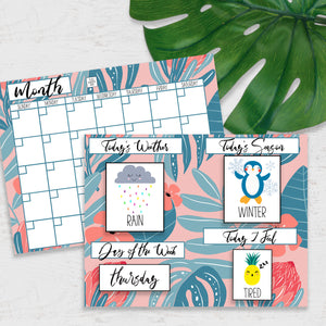 DIY Morning Board Printable - Tropical Pink