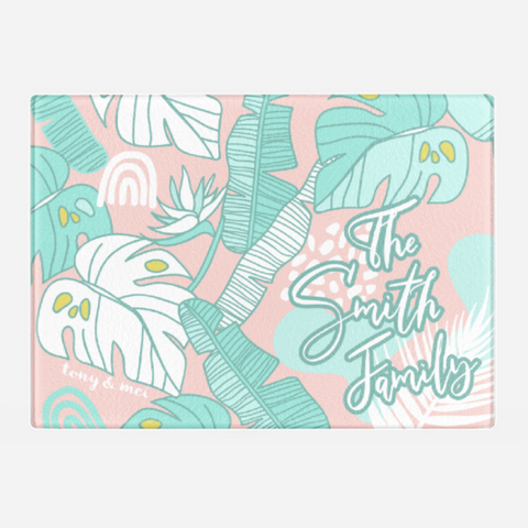 Tropical Doodle  - Custom Glass Cutting Board - Pink