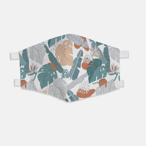 Tropical Doodle  - Canvas Face Mask- Rust/Teal