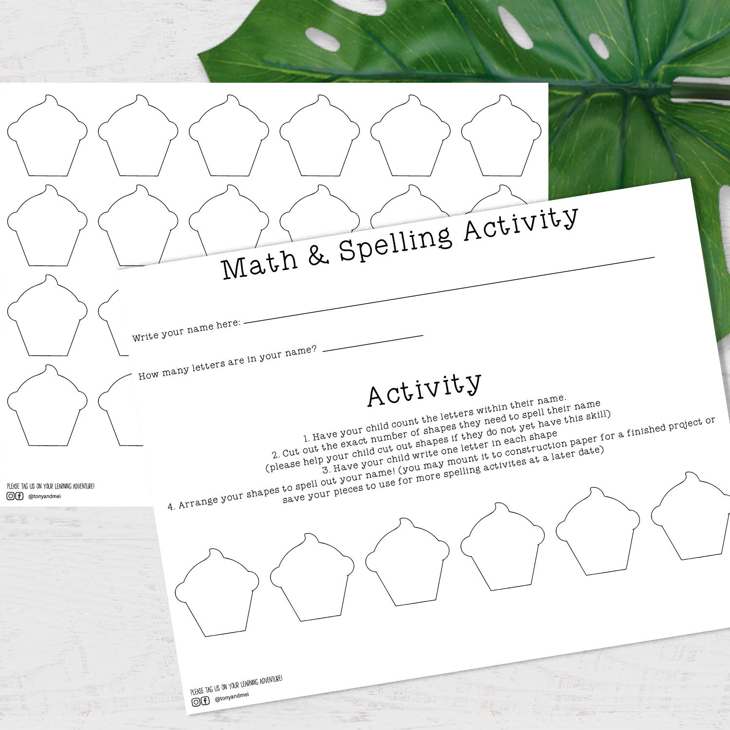 Math & Spelling Activity Printable - Cupcakes