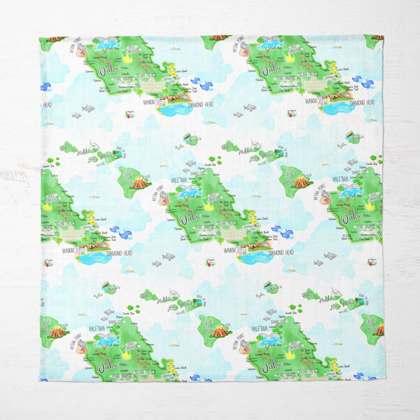 Ultra Soft Bamboo Muslin Blanket - Island Map - A Tony&Mei x Hopscotch Collab