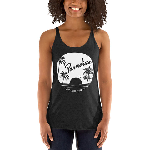 Paradise Found, Solid White, Women's Racerback Tank
