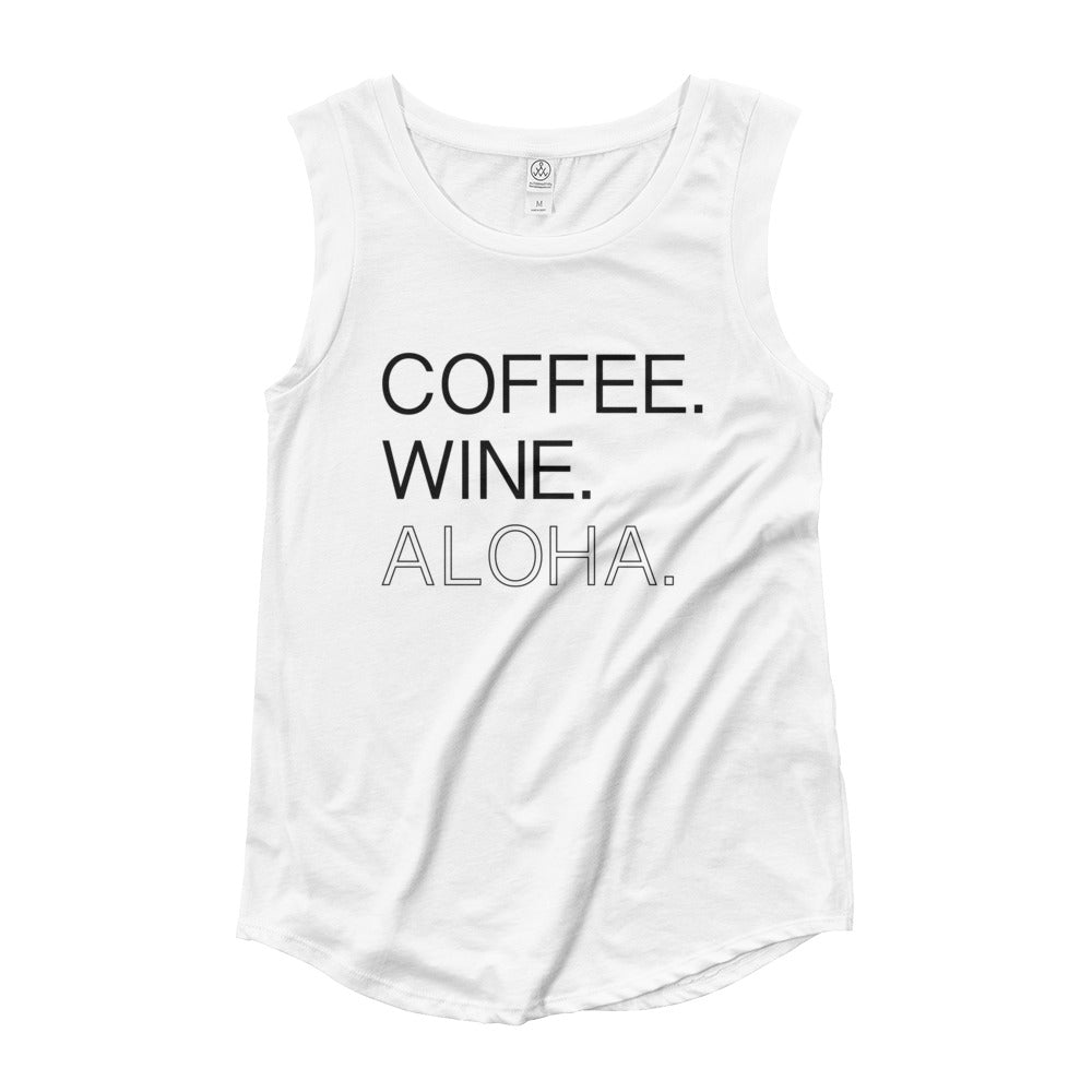 Coffee. Wine. Aloha Ladies' Cap Sleeve T-Shirt