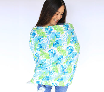nursing cover, palm leaf print, multi purpose nursing cover, stretchy carseat cover