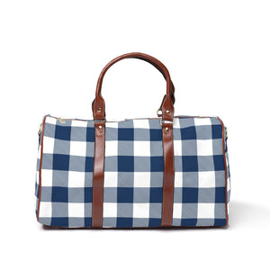 Navy Buffalo Check - Mama's Overnight Bag
