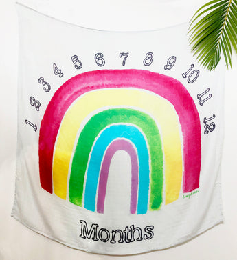 Ultra Soft Bamboo Muslin Blanket - Rainbow Monthly Milestone