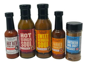 Southern Soul Barbeque BBQ Sauce - Award Winning BBQ Sauce, Hot Sauce, and Dry Rub Seasoning Mix Bundle