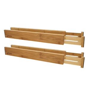Bamboo Adjustable Spring-Loaded, Stackable Drawer Divider Organizers