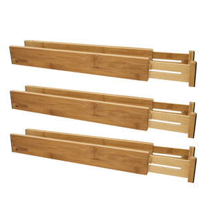 Bamboo Adjustable Drawer Divider Organizers - Spring Loaded, Stackable for Kitchen Drawers, Dresser, Vanity, and Desk Drawers
