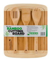 Premium Bamboo Cutting Board Chopping Block w/ Drip Groove & Non-Slip Feet + BONUS 3 Bambo Utensils