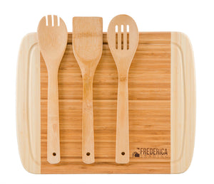 Premium Bamboo Cutting Board Chopping Block with Utensils