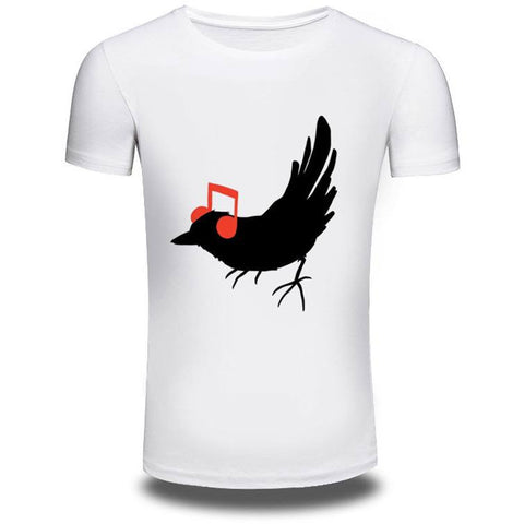 Summer Music Bird T-Shirt Short Sleeve