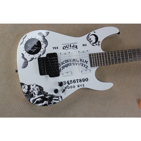 Ouija Board Styled White Electric Guitar