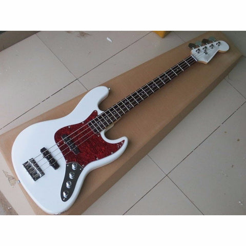 Custom White/Red 4 String Electric Bass Guitar