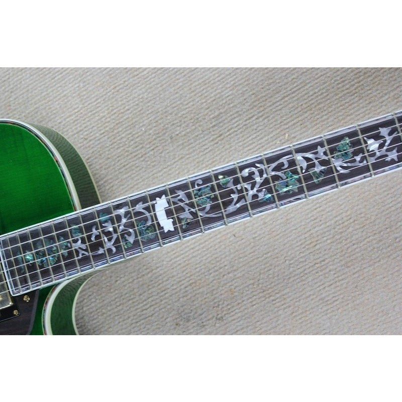 Green Hollow Body Electric Guitar with Carved Flower Neck