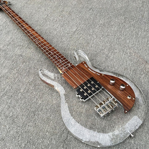 Acrylic and Wooden Bass Guitar
