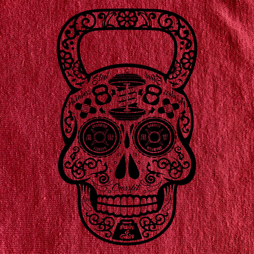 DAY OF THE DEAD SUGAR SKULL KETTLEBELL DISTRESSED STYLE SHIRT