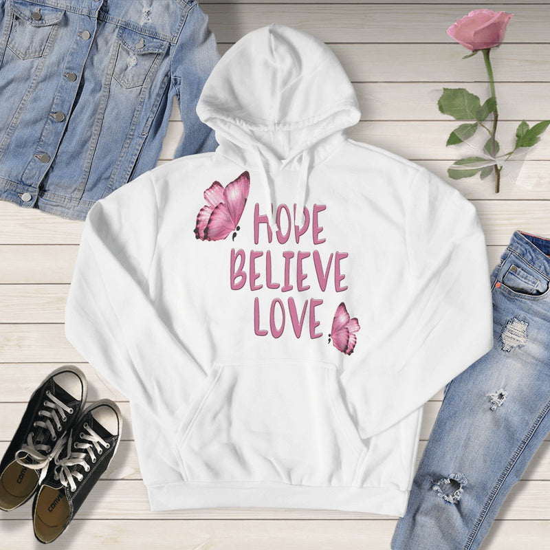 HOPE BELIEVE LOVE CANCER SUPPORT TSHIRT OR HOODIE