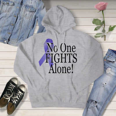 AWARENESS - NO ONE FIGHTS ALONE CANCER SUPPORT TSHIRT OR HOODIE