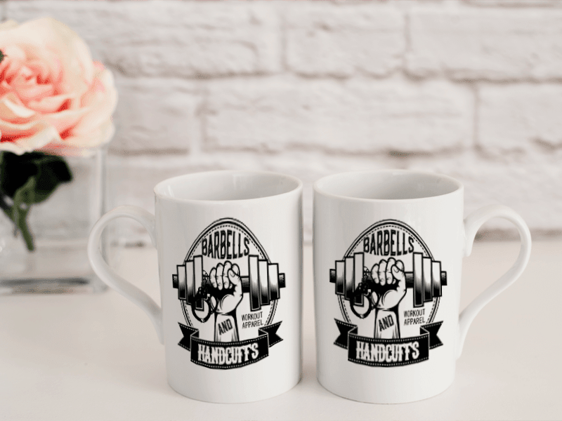 COFFEE MUG - BARBELLS AND HANDCUFFS COFFEE MUG