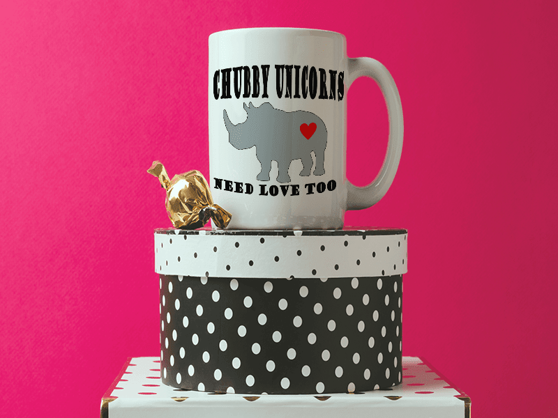 COFFEE MUG - CHUBBY UNICORN COFFEE MUG