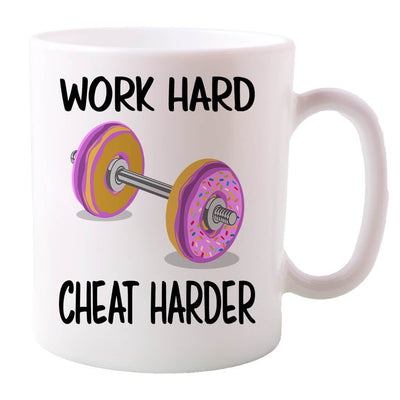 COFFEE MUG - WORK HARD-CHEAT HARDER DOUGHNUT COFFEE MUG