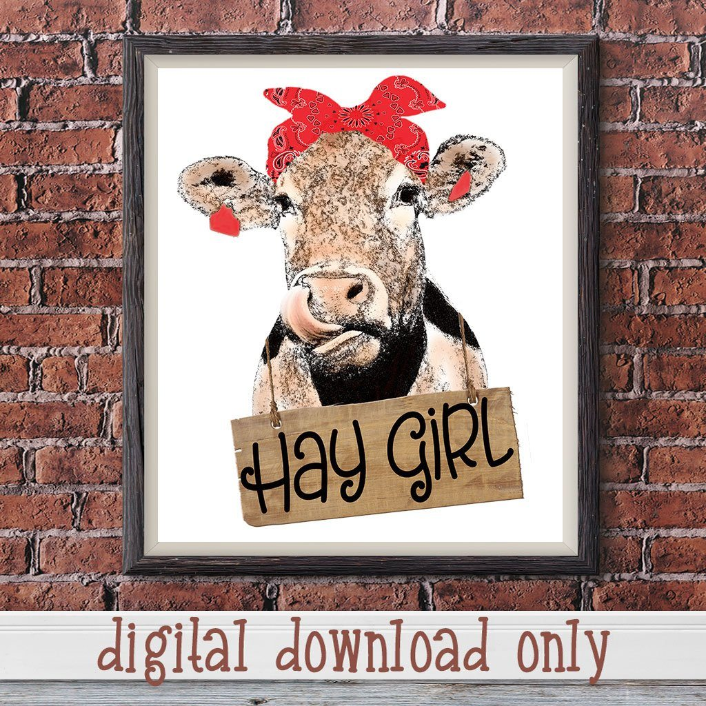 HAY GIRL HAY FUNNY COW SUBLIMATION DESIGN DOWNLOAD