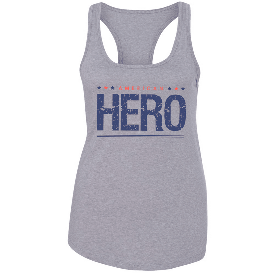 Fitted Racerback Tank - AMERICAN HERO PATRIOTIC LADIES RACERBACK TANK TOP