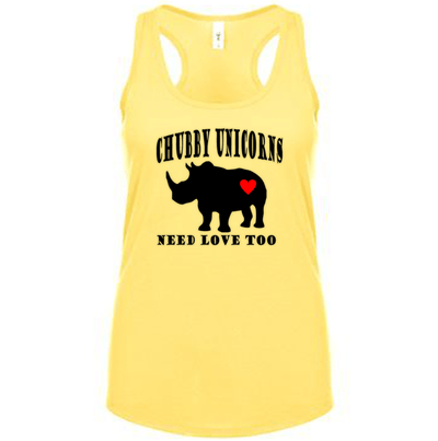 Fitted Racerback Tank - CHUBBY UNICORNS NEED LOVE TOO FITTED RACERBACK TANK TOP