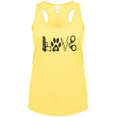 Fitted Racerback Tank - POLICE LOVE FITTED RACERBACK TANK TOP