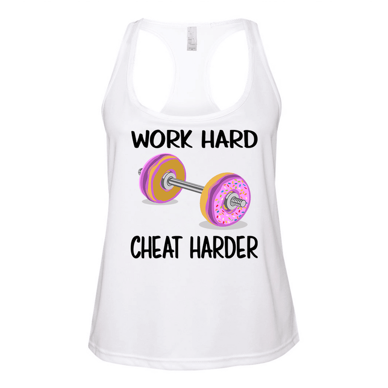 Fitted Racerback Tank - WORK HARD - CHEAT HARDER FUNNY POLYESTER RACERBACK TANK TOP