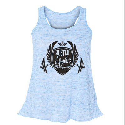 FLOWY RACERBACK TANK - HUSTLE & HEART WILL SET YOU APART FLOWY RACERBACK TANK TOP
