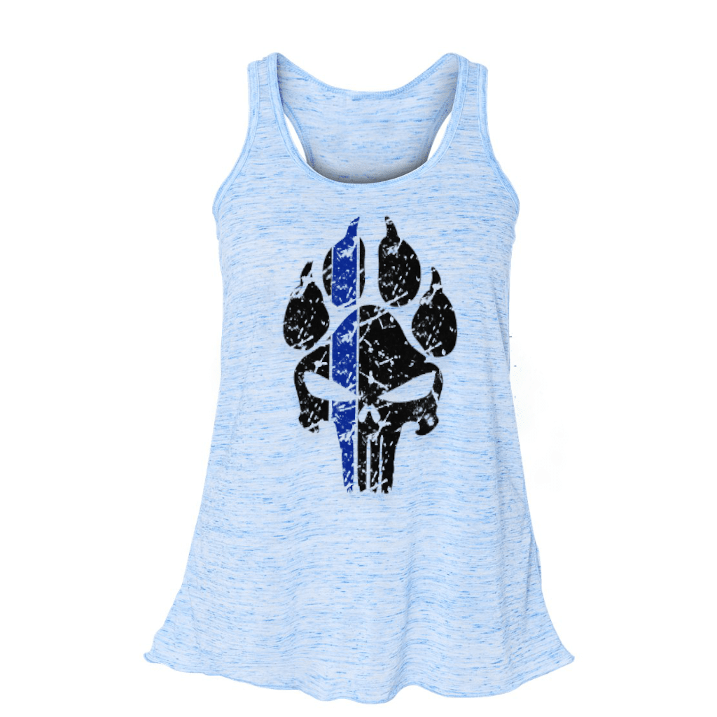 K9 PUNISHER PAW PRINT LADIES FLOWY RACERBACK TANK TOP