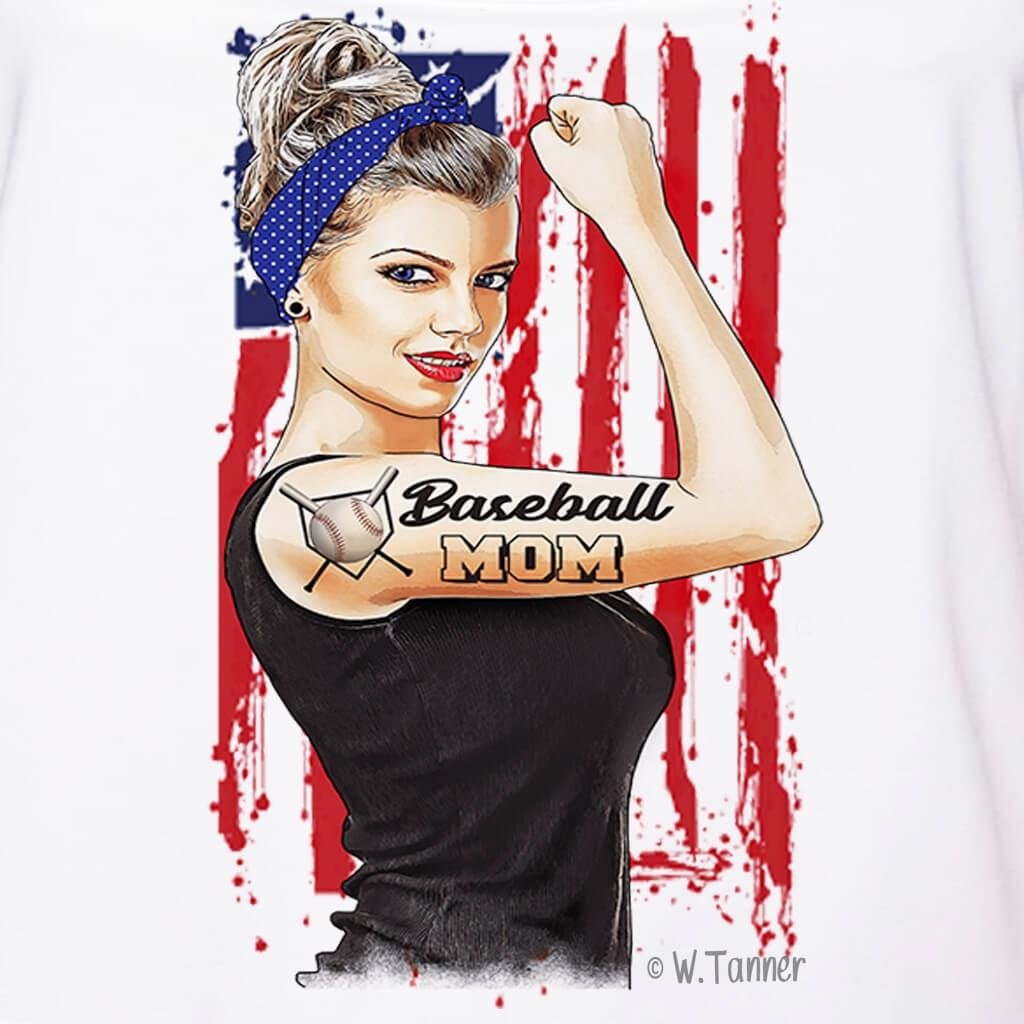 GIRL POWER - BASEBALL MOM PERSONALIZED GIRL BOSS FULL COLOR GRAPHIC SHIRT