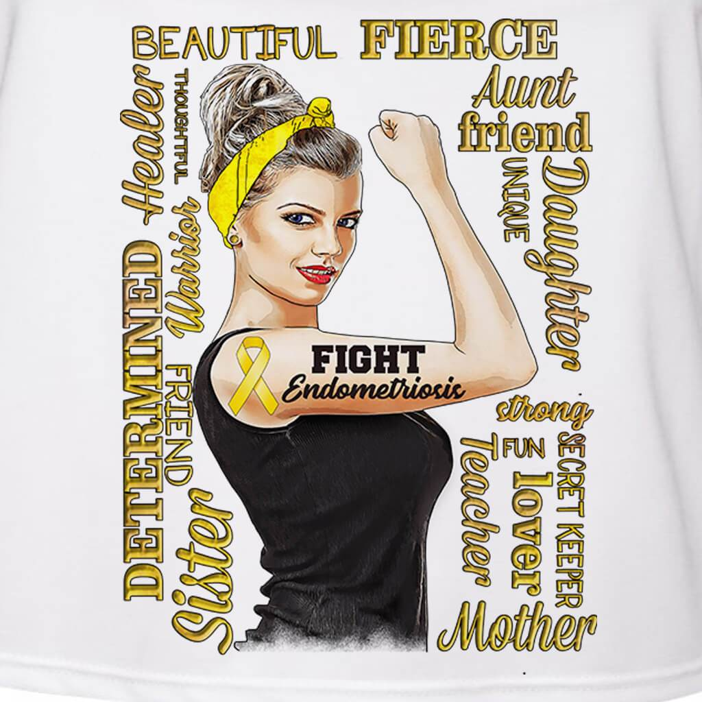 GIRL POWER - ENDOMETRIOSIS AWARENESS PERSONALIZED GIRL BOSS FULL COLOR TSHIRT/TANK TOP