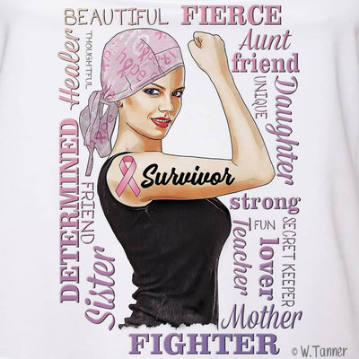 GIRL POWER - GIRL BOSS BREAST CANCER AWARENESS PERSONALIZED FULL COLOR GRAPHIC SHIRT