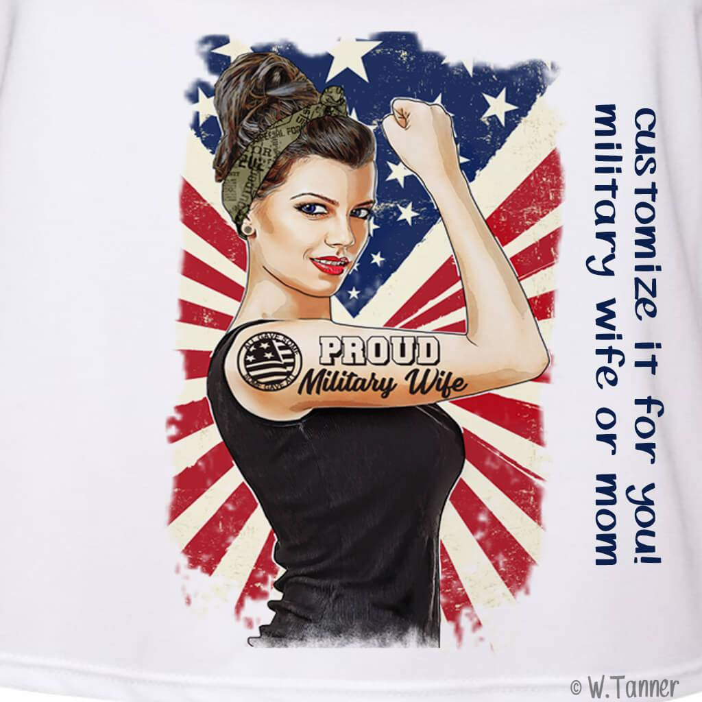 MILITARY WIFE/VETERAN GIRL BOSS ROSIE THE RIVETER PERSONALIZED FULL COLOR GRAPHIC SHIRT
