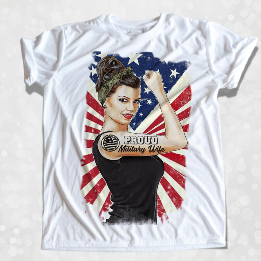 GIRL POWER - MILITARY WIFE/VETERAN GIRL BOSS ROSIE THE RIVETER PERSONALIZED FULL COLOR GRAPHIC SHIRT