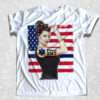 GIRL POWER - PROUD EMT PERSONALIZED GIRL BOSS ROSIE THE RIVETER FULL COLOR TSHIRT