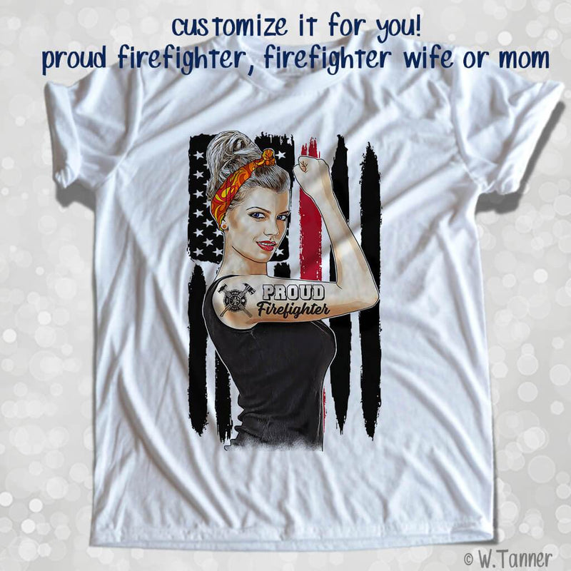 PROUD FIREFIGHTER PERSONALIZED GIRL BOSS FULL COLOR GRAPHIC SHIRT