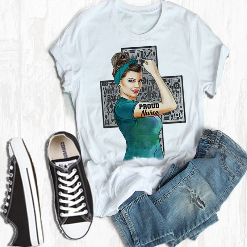 PROUD NURSE ROSIE THE RIVETER STYLE PERSONALIZED GIRL BOSS FULL COLOR GRAPHIC SHIRT