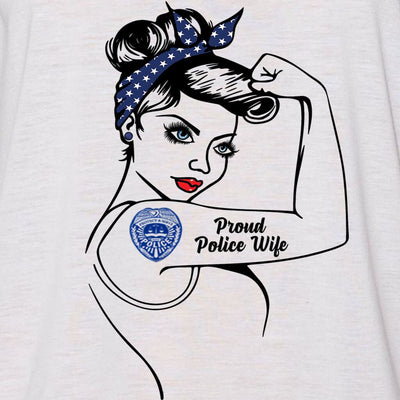 "GIRL POWER - PROUD POLICE OFFICER - POLICE MOM - POLICE WIFE ""GIRL POWER"" GRAPHIC SHIRT"