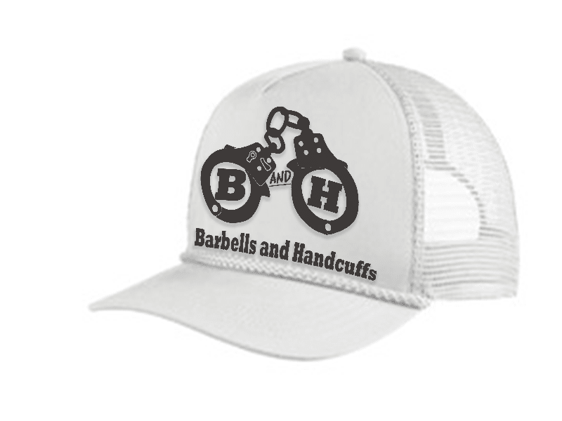 BARBELLS & HANDCUFFS LOGO TRUCKER 5 PANEL CAP