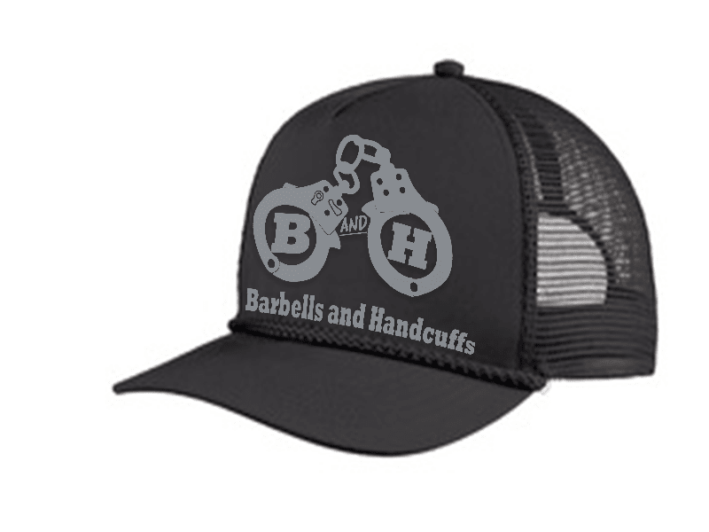 HAT - BARBELLS & HANDCUFFS LOGO TRUCKER 5 PANEL CAP