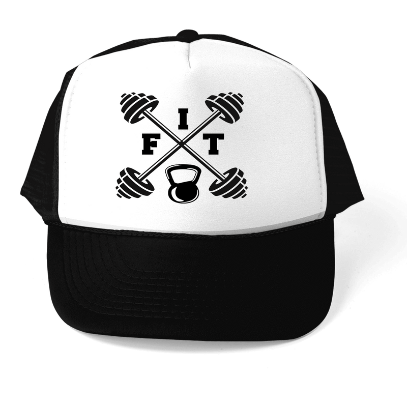 """FIT"" BARBELL GRAPHIC ATHLETIC TRUCKER STYLE  HAT"