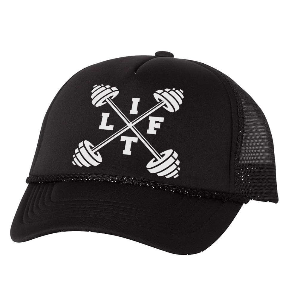 """LIFT"" BARBELL GRAPHIC ATHLETIC TRUCKER STYLE  HAT"