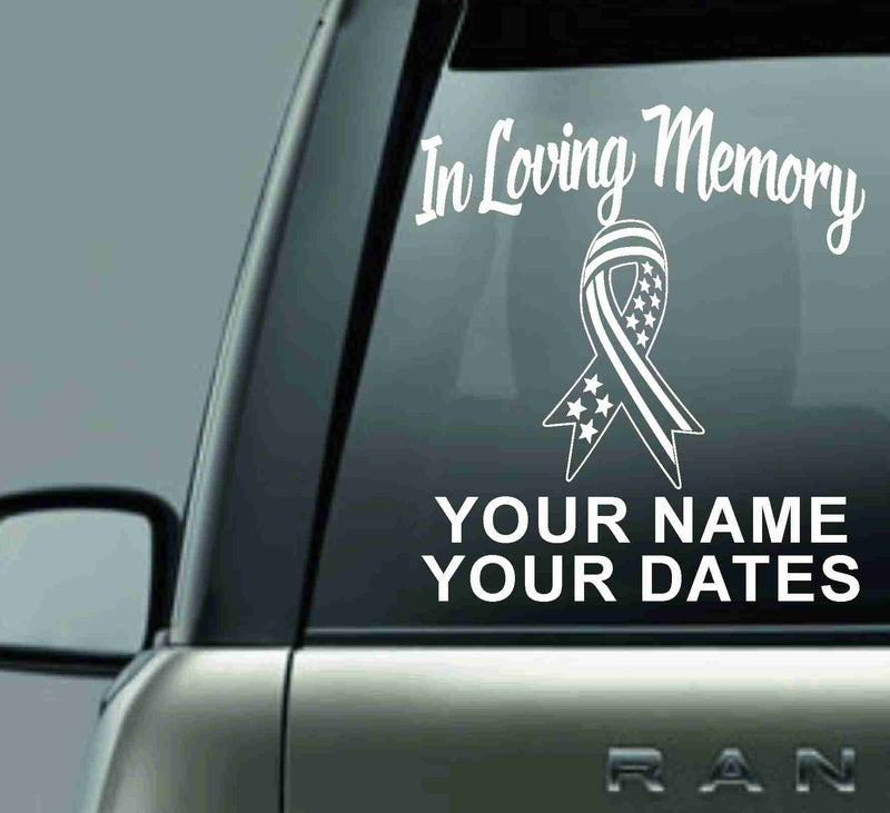 IN LOVING MEMORY PERSONALIZED VINYL CAR DECAL STICKER