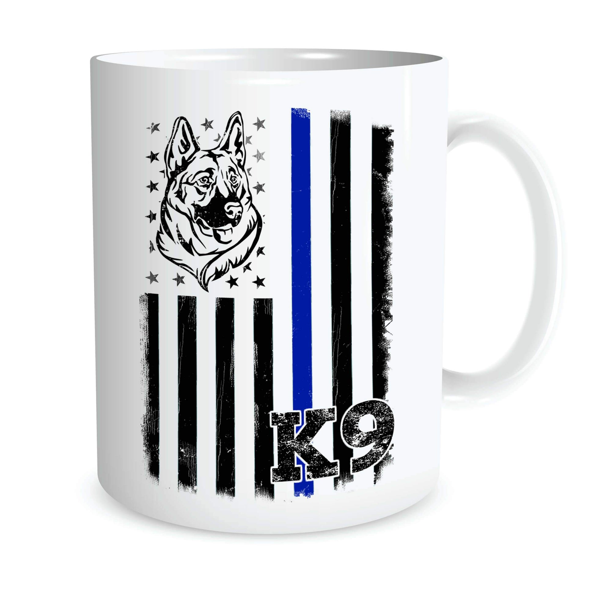 BLUE LINE FLAG K9 SUPPORT COFFEE MUG