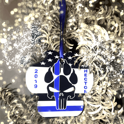 K9 PUNISHER CUSTOMIZABLE PAW PRINT HOLIDAY ORNAMENT