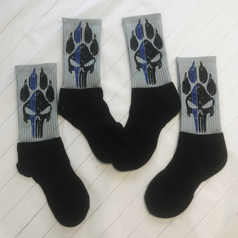 K9 PUNISHER BLUE LINE CREW OR KNEE SOCKS